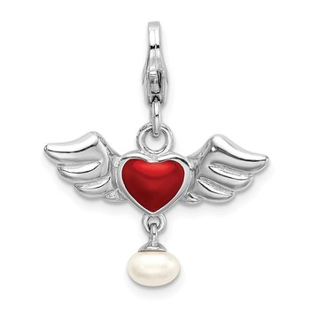 SS RH 3-D Winged Red Heart FW Cultured Pearl w/Lobster Charm