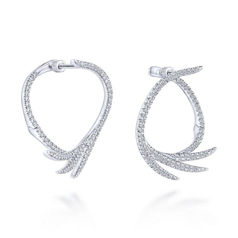 Gabriel Fashion Top Picks 14K White Gold Intricate Diamond Fan Hoop Earrings