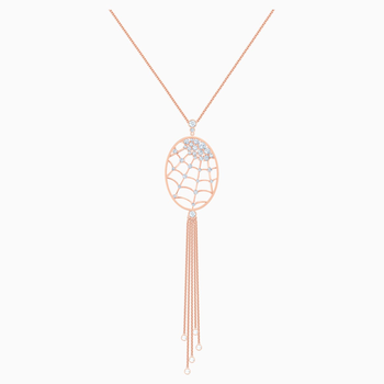 Precisely Necklace, White, Rose-gold tone plated