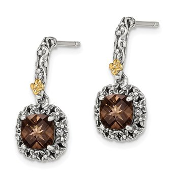 Sterling Silver w/ 14k Polished Smoky Quartz Earrings
