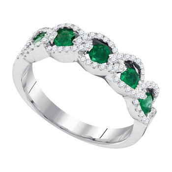 14kt White Gold Womens Round Emerald Diamond Outline Band 3/4 Cttw