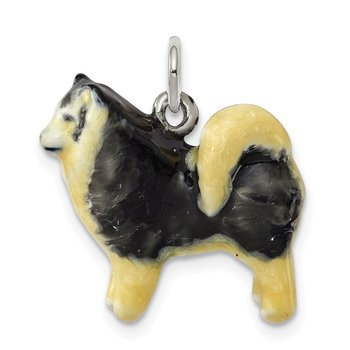 Sterling Silver Enameled Husky Dog Charm