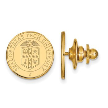 Gold-Plated Sterling Silver Texas Tech University NCAA Lapel Pin