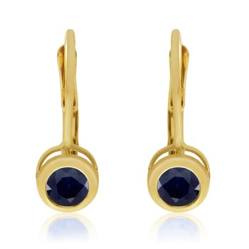 14k Yellow Gold 4mm Sapphire Bezel Leverback Earrings