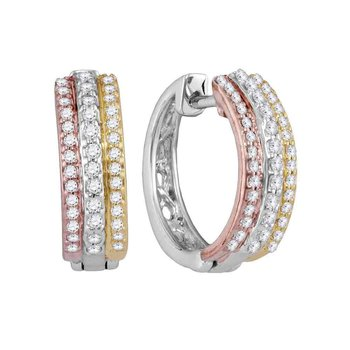 10kt Tri-Tone Gold Womens Round Diamond Hoop Earrings 1/4 Cttw