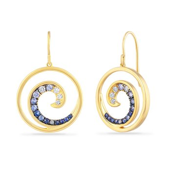 14K WAVE EARRINGS WITH 8 DIAMONDS 0.16CT & 24 SAPPHIRES 0.41CT DIAMETER 19 MM, EAR CLIP 14.2MM LONG