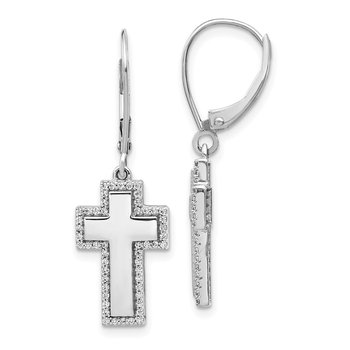 14k White Gold Diamond Fancy Cross Leverback Earrings