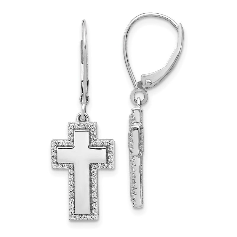 Quality Gold 14k White Gold Diamond Fancy Cross Leverback Earrings