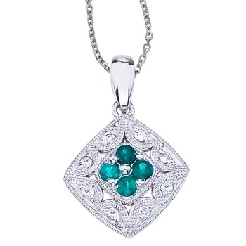14k White Gold Emerald and Diamond Filigree Pendant