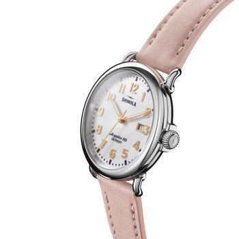The Runwell 41mm White Mother of Pearl Blush Leather Strap Watch
