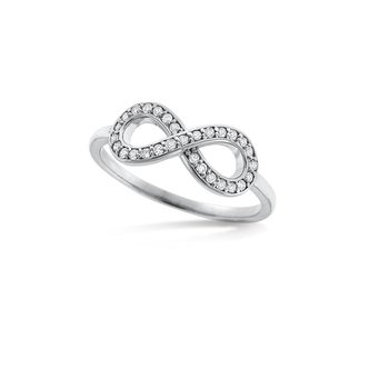 KC Designs Diamond Infinity Ring in 14k White Gold with 29 Diamonds weighing .15ct tw