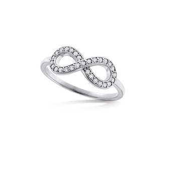 Diamond Infinity Ring in 14k White Gold with 29 Diamonds weighing .15ct tw