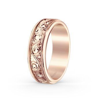 Engraved Elegant Mens Wedding Band 7mm