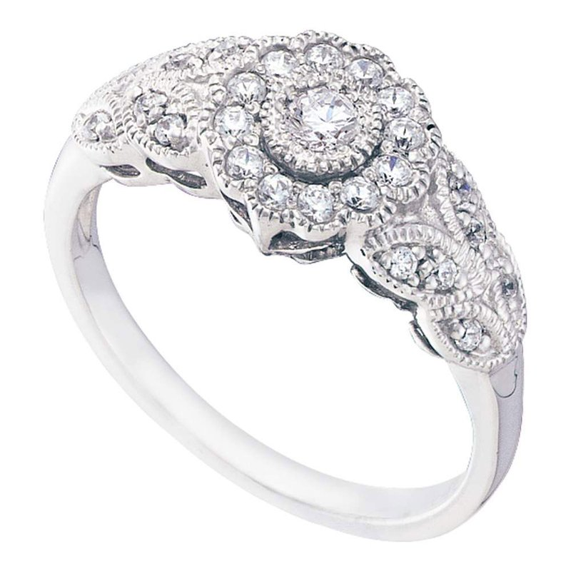 Gold-N-Diamonds, Inc. (Atlanta) 10kt White Gold Womens Round Diamond Solitaire Floral Cluster Milgrain Ring 1/3 Cttw