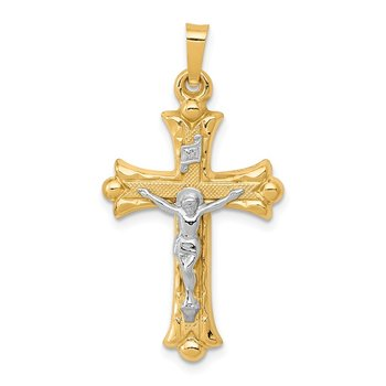 14k Two-Tone Textured and Polished INRI Crucifix Cross Pendant