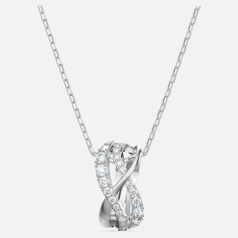 Swarovski Twist Rows Pendant, White, Rhodium plated