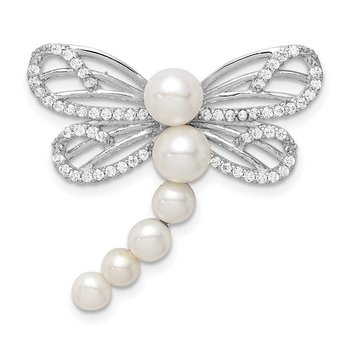 Sterling Silver Rhod-plated Imitation Shell Pearl Dragonfly Chain Slide