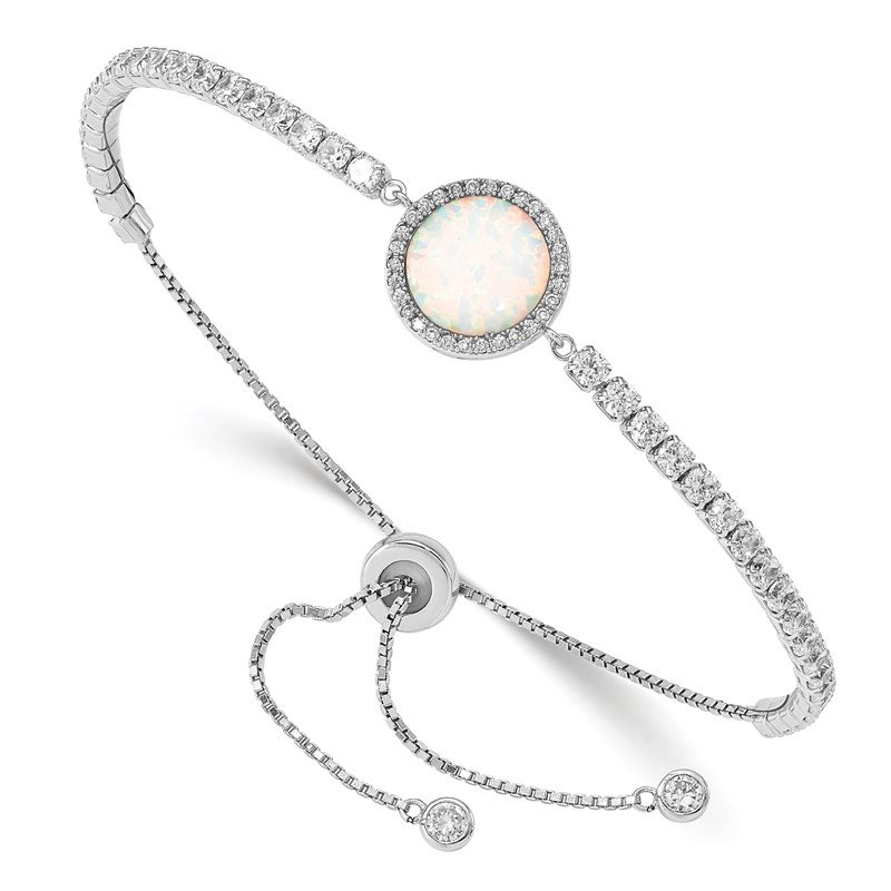 Quality Gold Sterling Silver RH-plated Created Opal and CZ Adjustable Bracelet