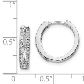 14k White Gold Diamond Hinged Round Hoop Earrings