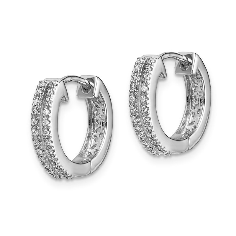 Quality Gold 14k White Gold Diamond Hinged Round Hoop Earrings