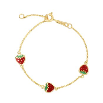 14K Gold Enamel Strawberry Bracelet