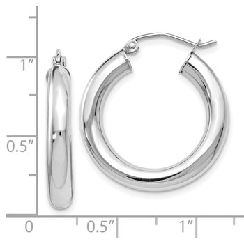 Leslie's 14K White Gold Polished Lightweight Hoop Earrings