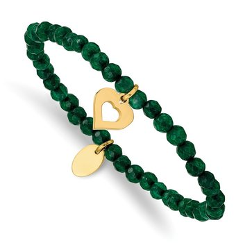 Stainless Steel Polished Heart Yellow IP Green Jade Stretch Bracelet