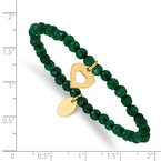 Chisel Stainless Steel Polished Heart Yellow IP Green Jade Stretch Bracelet