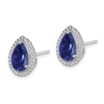 Sterling Silver Rhodium Created Sapphire & CZ Post Earrings