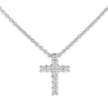 Diamond Cross Necklace in 14k White Gold with 11 Diamonds weighing .15ct tw.