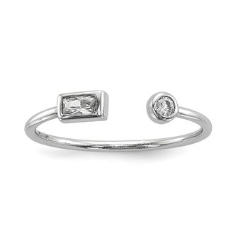 Sterling Silver Rhodium-plated CZ Square and Circle Adjustable Ring