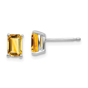 14k White Gold 6x4mm Emerald Cut Citrine Earrings