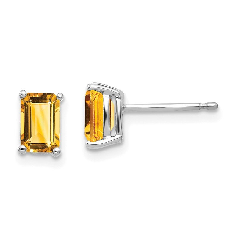 Quality Gold 14k White Gold 6x4mm Emerald Cut Citrine Earrings