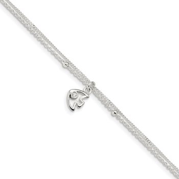 Sterling Silver Polished 2-Strand CZ Fish 9in w/1in Ext Anklet