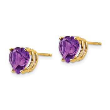 14k 8mm Heart Amethyst earring