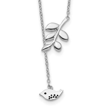 Sterling Silver Rhodium-plated Leaf and Bird w/ 2in ext. Necklace