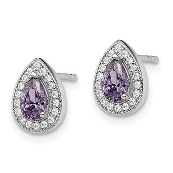 Sterling Silver Rhodium-Plated Purple and Clear CZ Post Earrings