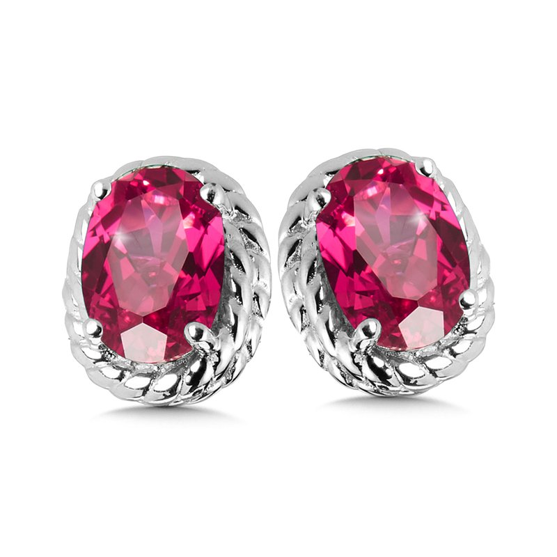 SDC Creations Created Ruby Earrings in Sterling Silver