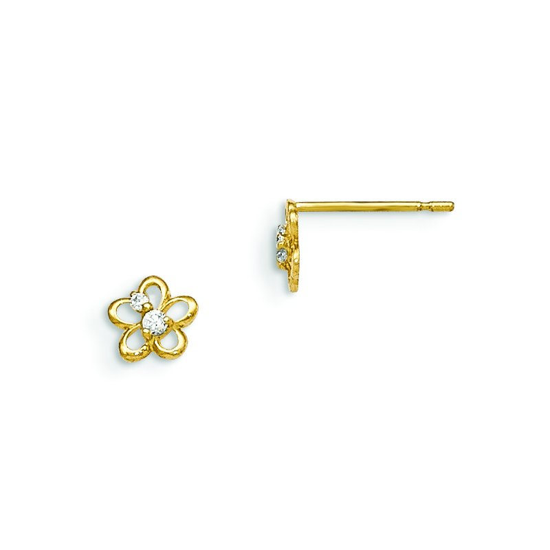 Fine Jewelry by JBD 14k Madi K CZ Children's Flower Post Earrings