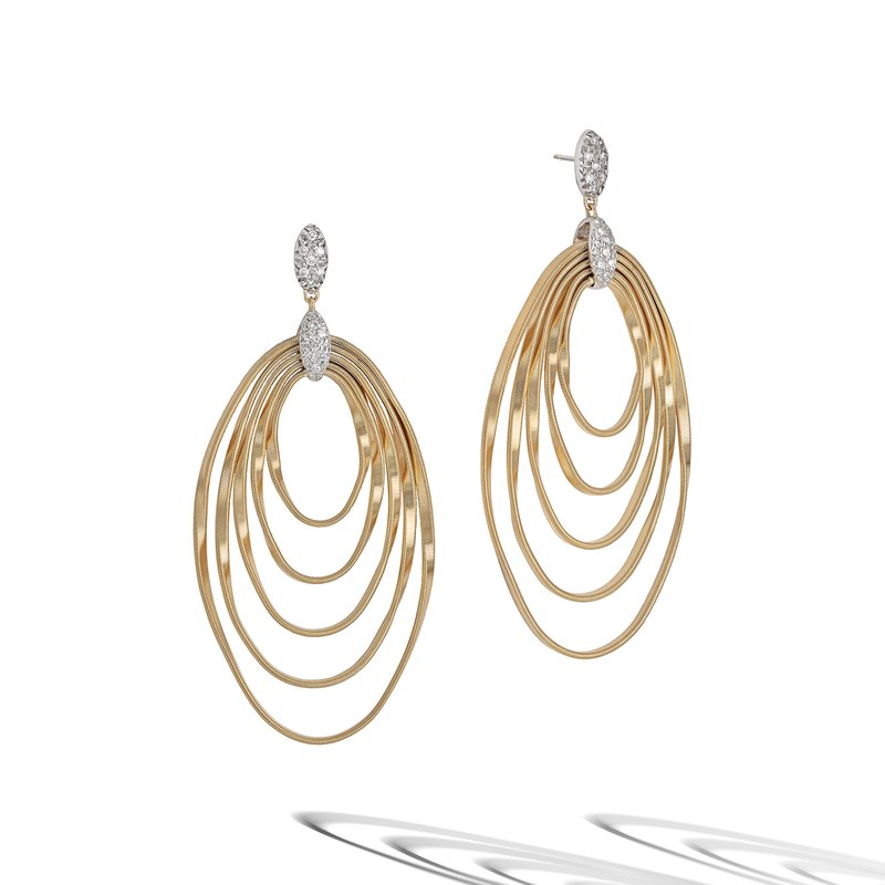Marco Bicego Marrakech Onde Yellow Gold and Diamond Large Concentric Earring