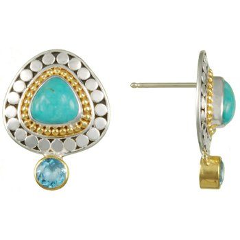 Turquoise & Baby Blue Topaz Earrings