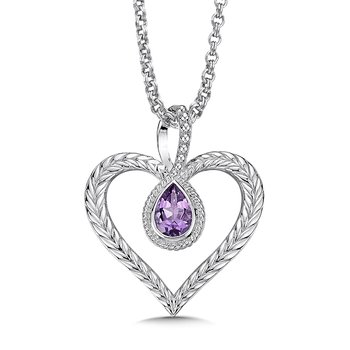 Sterling silver and purple amethyst heart pendant