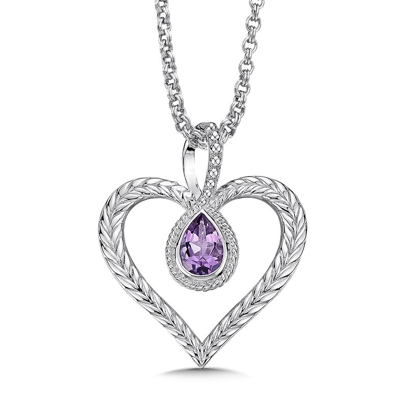 Colore Sg Sterling silver and purple amethyst heart pendant