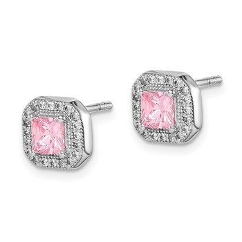 Sterling Silver Rhodium Plated Square Pink and Clear CZ Post Earrings