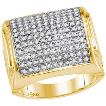 10kt Yellow Gold Mens Round Diamond Domed Square Cluster Ring 1.00 Cttw