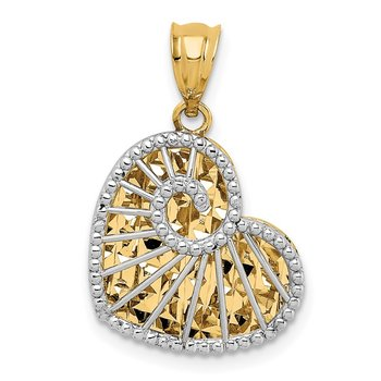 14K Two-tone Polished and Diamond-cut Hollow Heart Pendant