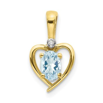 10K Diamond and Aquamarine Pendant
