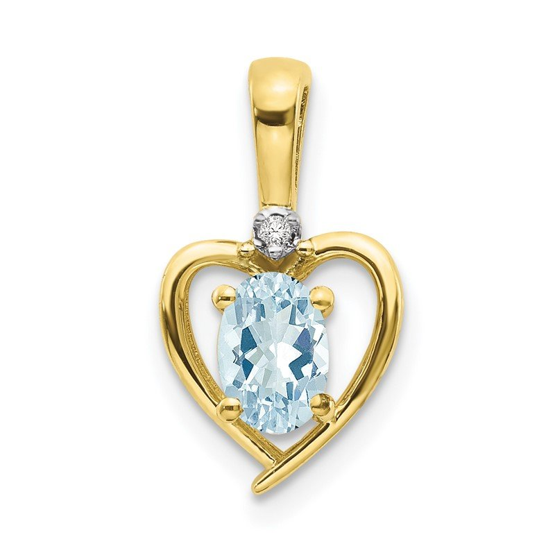 Quality Gold 10K Diamond and Aquamarine Pendant