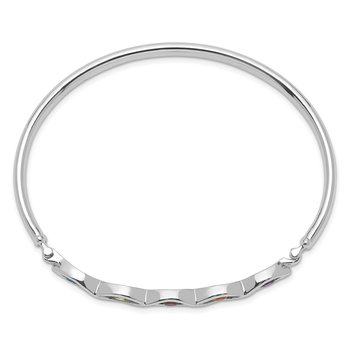 Sterling Silver Rhodium-plated Multi-gemstone Hinged Bangle
