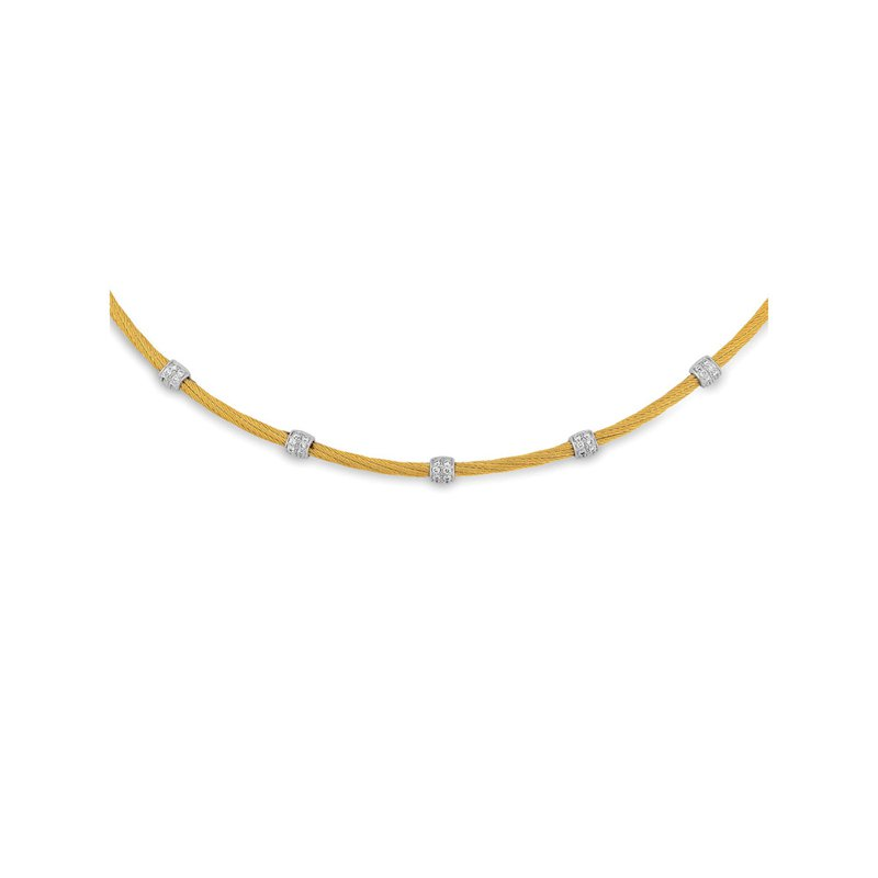 ALOR Yellow Twisted Cable Necklace with 5 Round Diamond Stations set in 18kt White Gold